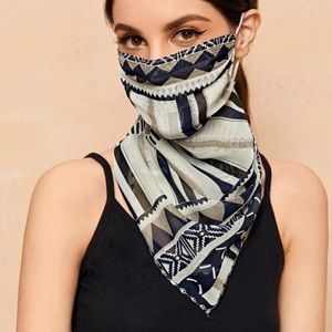 Accessories - RESTOCKED Geometric Print Scarf Face Mask